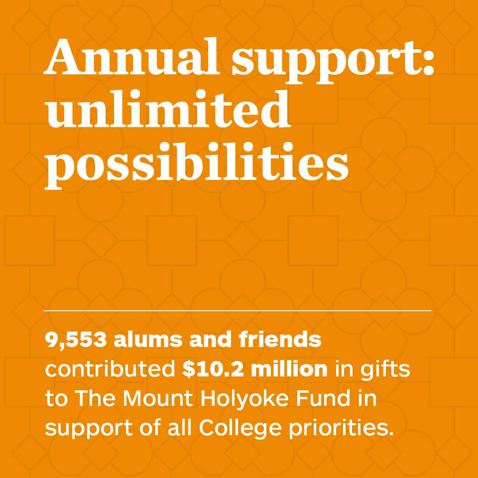 Annual support: unlimited possibilities: 9,553 alums and friends contributed  $10.2 million in gifts to The Mount Holyoke Fund in support of all College priorities.