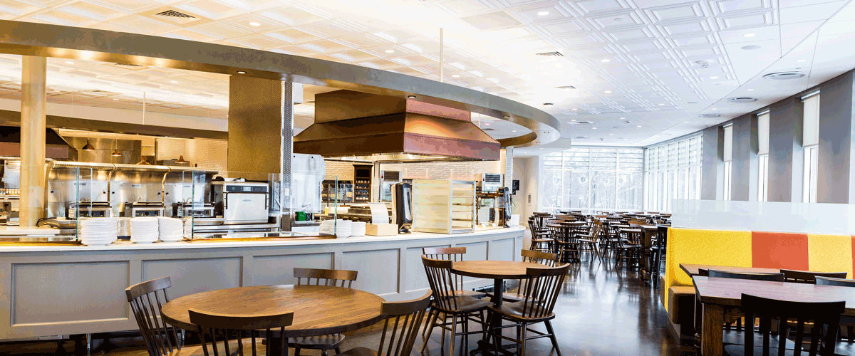 Photo Of The Inside Dining Commons Table Seating Serving Counter And Windows