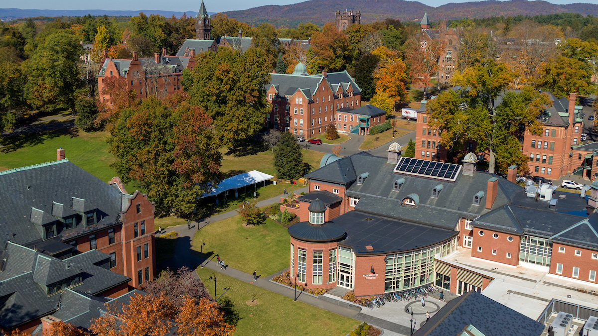 Aerial view of the Community Center and Skinner Green