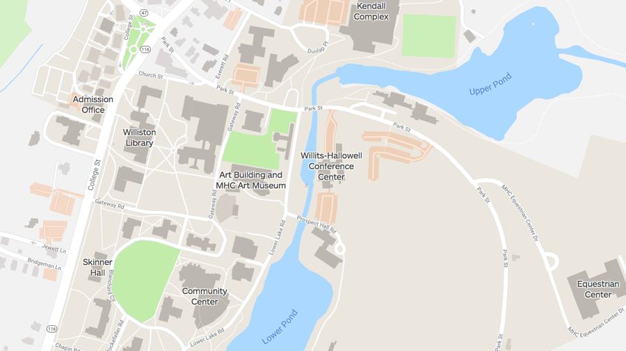 Screenshot of the Mount Holyoke College campus map