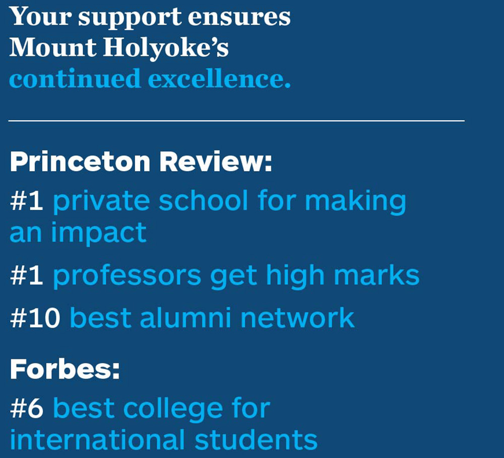 Your support ensures Mount Holyoke's continued excellence. Princeton Review: #1 private school for making an impact, #1 professors get high marks, #10 best alumni network.<br /> Forbes: #6 best college for international students.<br />