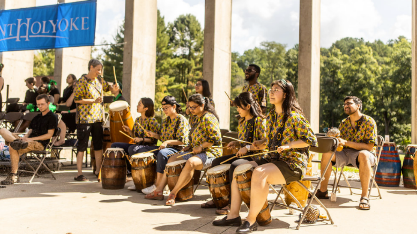 The West African Drum Ensemble plays during Convocation