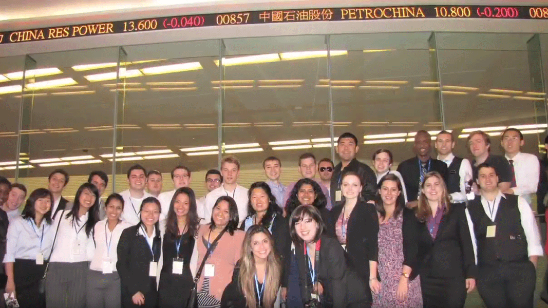 photo of a group of students at the Chinese stock exchange