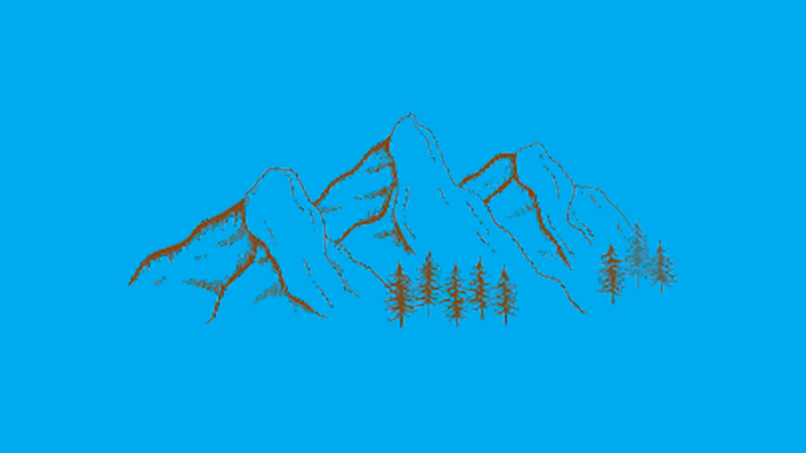 Line drawing of a mountain