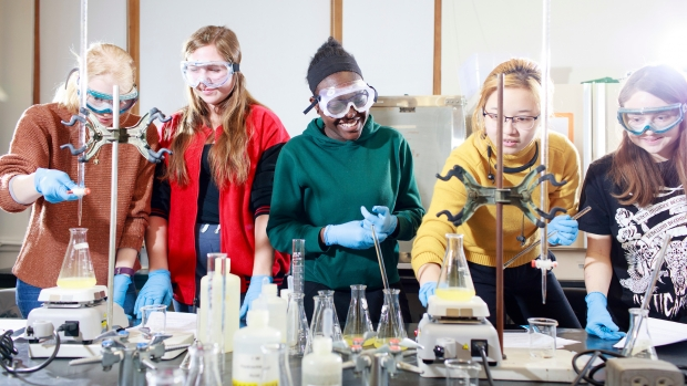 Students at Mount Holyoke College in a laboratory.
