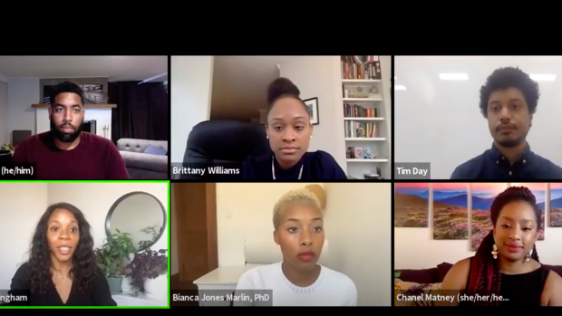 """This is a Zoom panel showing Andre White, with other panelists and the moderator for the """"Beyond the PhD: Neuro Careers in Academia, Policy, and Industry"""" panel."""
