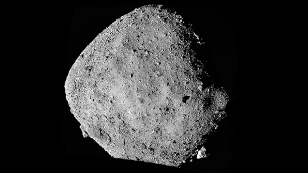 This is a black and white mosaic image of the asteroid Bennu.