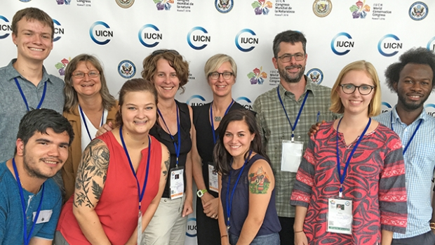 This is a photograph of Catherine Corson with interns Julia Worcester '17, Isabel Flores-Ganley '17, and Sabine Rogers '18 and the entire multi-institutional research team at the 2016 World Conservation Congress in September.