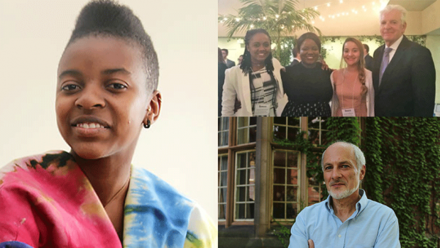 This is a three-part photograph, featuring Ellen Chilemba, the winning team of the International Business Ethics Case Competition, and Rick Feldman.