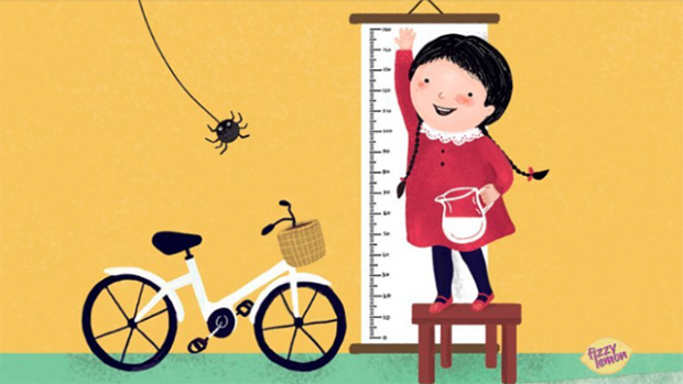 This is a stylized drawing of a young girl standing on a bench in front of a height chart. She is smiling and reaching up, holding a pitcher of milk in one hand. Next to her is a bicycle and a spider is swinging from it web.