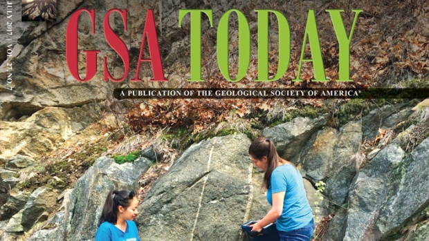 Louisa Radar '18, Clarissa Leight '18, and Laura Breitenfeld '17 on the cover of GSA Today.