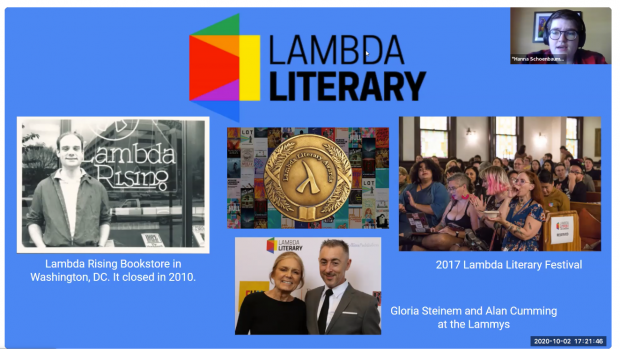 Hanna Schoenbaum '21, English and film double major, did an internship at Lambda Literary, focusing specifically on its website and social media platforms.