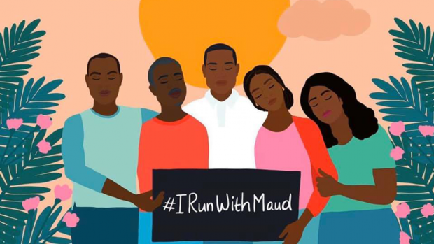 "Illustration of a group of people holding a sign that says ""#IRunWithMaud"""