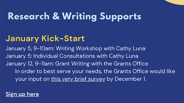 Choose from a smattering of workshops and writing groups to help support research & writing.