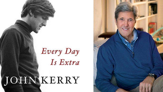 """Photo of the book cover """"Every Day is Extra"""" by John Kerry next to a photo of John Kerry"""