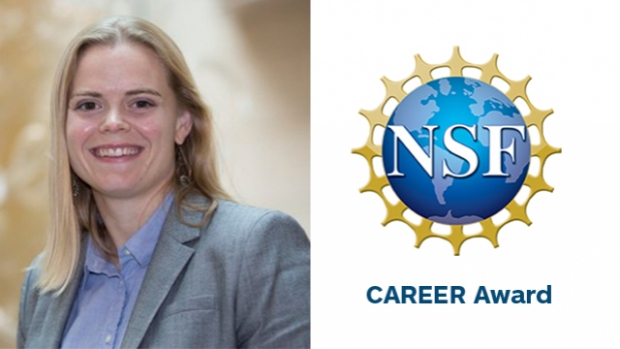This is a photo of Kerstin Nordstrom (left) with an image of the CAREER Award logo from the National Science Foundation.