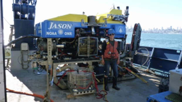 Photo of Veronika Kivenson FP'13 aboard a research vessel