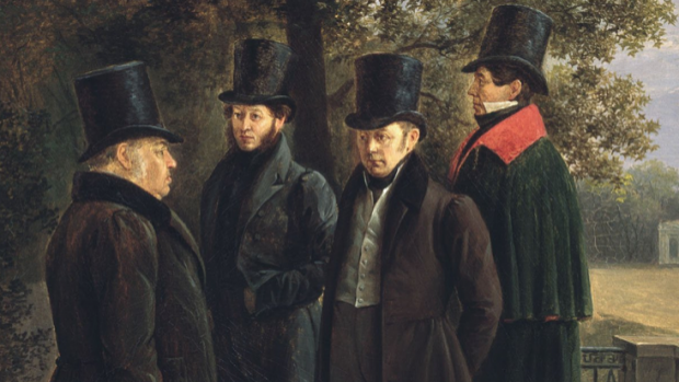 Russian writers in the Summer Garden, by Grigory Chernetsov