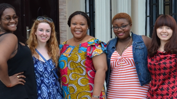 Photo of 2014 Gbowee Peace Foundation Africa interns with internship mentor and Nobel Peace Prize recipient, Leymah Gbowee