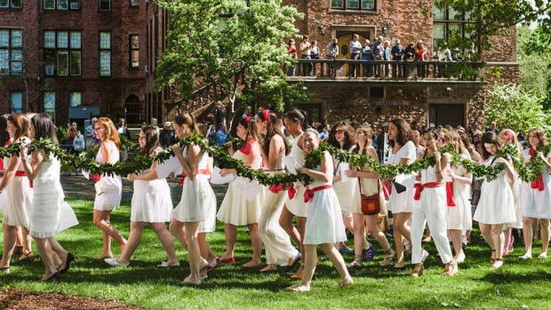 this is a photograph of Mount Holyoke students participating in the annual Laurel Parade.