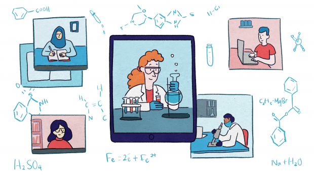 This is a graphic, depicting students in various dress using studying tools. Each of the four are arranged around a central picture of a teacher in safety glasses holding a bubbling flask.