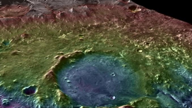 A false-color topographic map (blue marks low elevations) shows the area around Mars's Jezero Crater, which was home to an ancient lake system. Photo by NASA/MSSS/ASU/GSFC