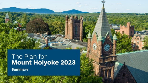 An aerial view of the Mount Holyoke College campus