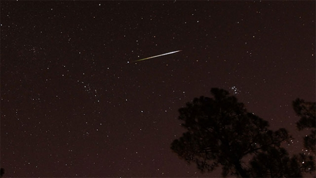 This is a photograph of a meteor streaking through a star-filled night sky.