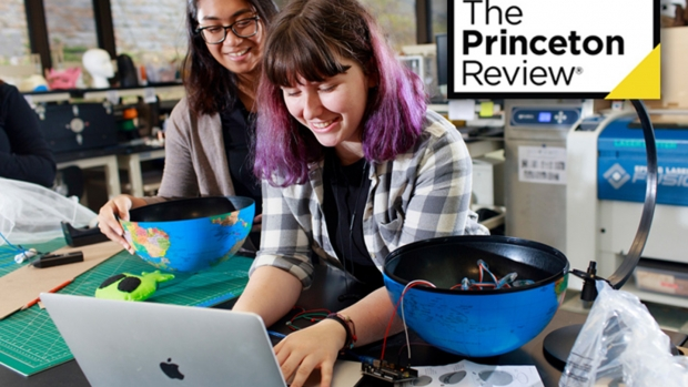 Photo of two students working in the Makerspace with the Princeton Review logo in the top corner