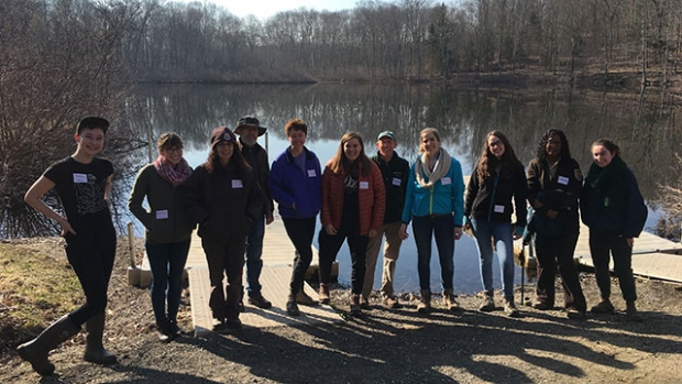 Student, staff and U.S. Fish & Wildlife volunteers pose on the day of Renaissance high school's annual field trip to Mount Holyoke.