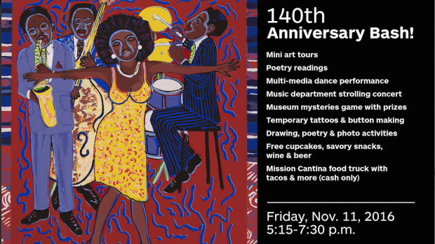 Poster for the 140 Unlimited Art Museum Anniverary Bash