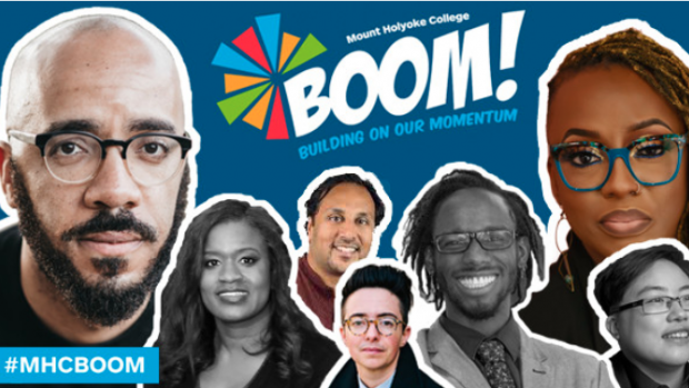 This is an image depicting the BOOM logo and 2021 speakers.