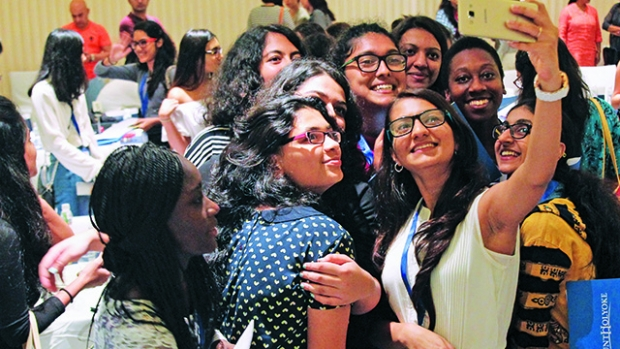 Students pose for a selfie at MHC Shakti 2016