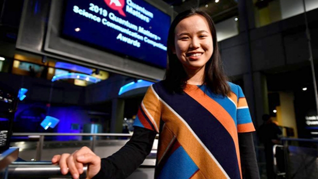 Sue Shi '19 was named the winner of the 2019 National Quantum Matters Science Communication Competition at the Museum of Science, Boston.