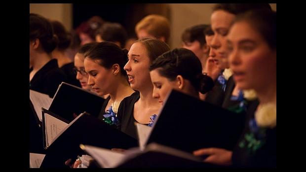Students sing in a Vespers concert at Mount Holyoke College.