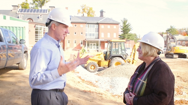 Photo of Acting President Sonya Stephens and Paul Breen of Facilities Management