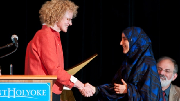 Photo of Senia Bachir-Abderahman '10 receiving the Global Engagement Award