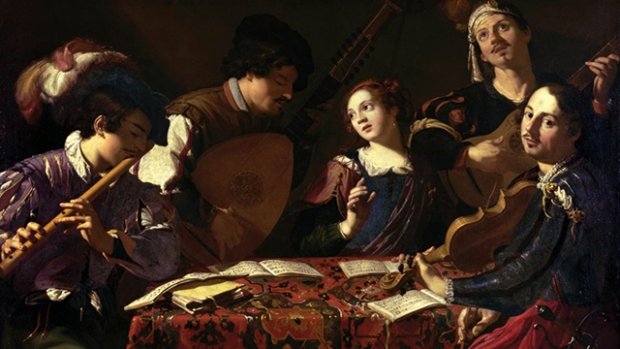 Photo shows a painting of people playing Baroque music.