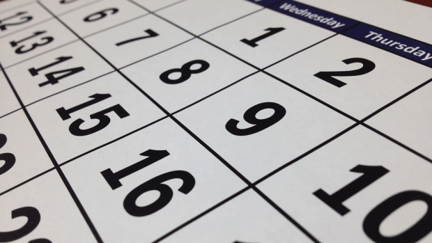 Graphic closeup of a printed calendar