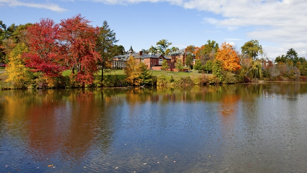 View of the Mount Holyoke College campus from lower lake