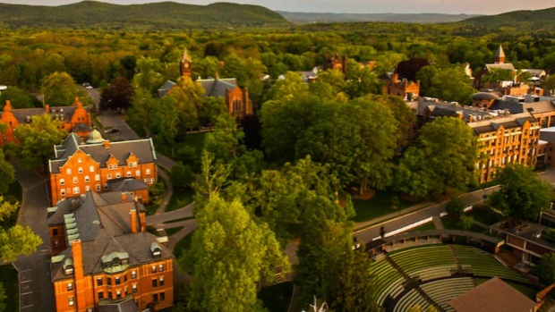Aerial photo of the landscape of the Mount Holyoke campus