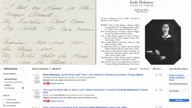 Primary and secondary sources for Emily Dickinson