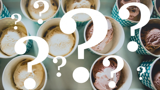 Graphic of bowls of ice cream with question marks over them