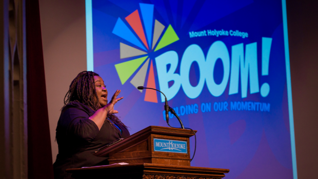 Photo of a speaker at the 2017 BOOM Conference