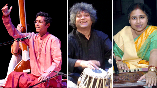 Photo of Pandit Shantanu Bhattacharyya, Pandit Ashis Sengupta and Durba Bhattacharyya