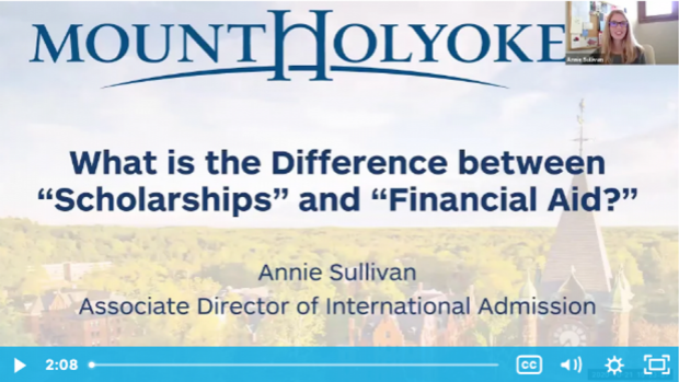 """Opening slide from the video titled """"What is the difference between scholaships and financial aid?"""""""