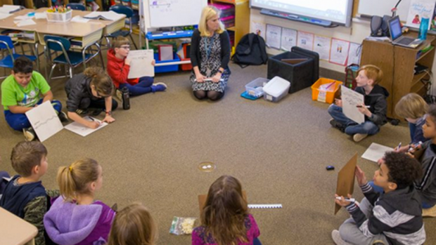 Photo of an elementary teacher teaching a lesson while sitting with her class in a circle on the floor