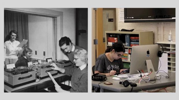 Photo of a language lab in 1947 next to the language resource center in 2017