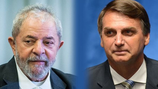 Photograph of Luiz Inácio Lula da Silva (left) and Jair Bolsonaro.