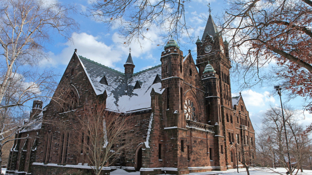 Photo of Mary Lyon hall after a snowfall